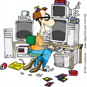 1047132-Cartoon-Computer-Geek-With-A-Messy-Office