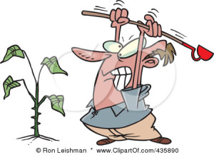 435890-Royalty-Free-RF-Clipart-Illustration-Of-An-Angry-Mad-Beating-A-Weed